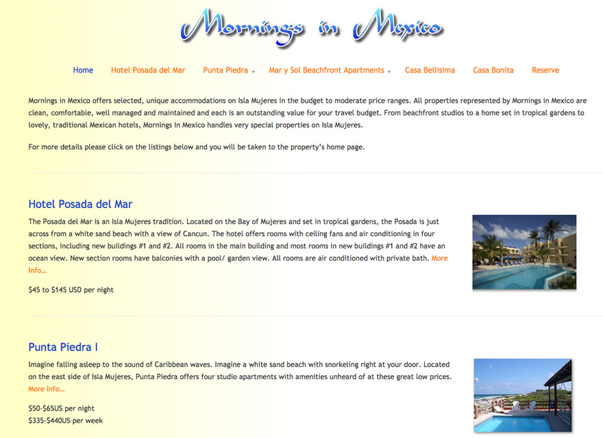 Mornings in Mexico Accommodations Isla Mujeres